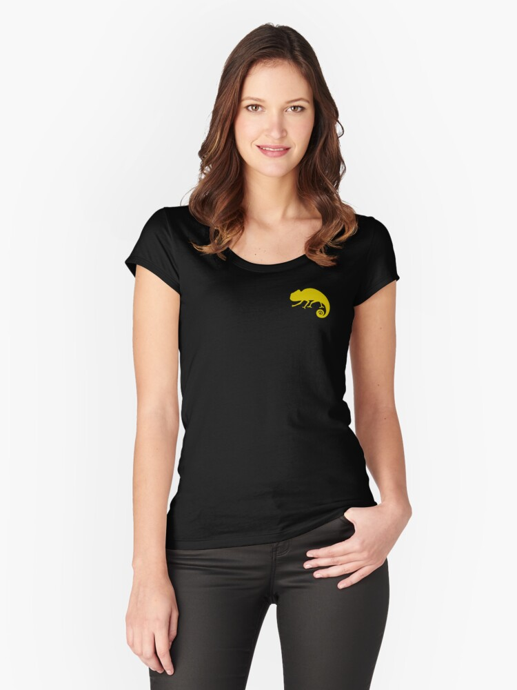 Small Chameleon #yellow Women's Fitted Scoop T-Shirt Front