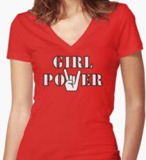 Camiseta entallada de cuello en V Girl Power Rock N Roll Sign. Regla de las muchachas