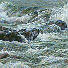 Cornwall seascape textured painting by Marion Yeo
