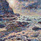 Cornish rocky beach painting by Marion Yeo