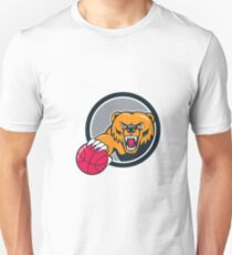 Grizzly Bear Angry Head Basketball Cartoon T-Shirt
