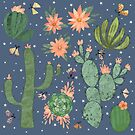 Succulents in Blue by Lindsey Bell