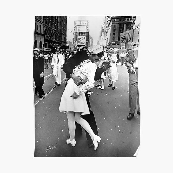 Kissing On VJ Day World War Poster