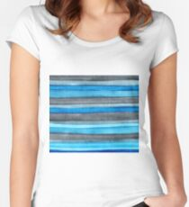 Watercolor Stripes Women's Fitted Scoop T-Shirt