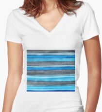 Watercolor Stripes Women's Fitted V-Neck T-Shirt