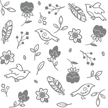 Grey Bird and Floral Pattern by katiecrumpton