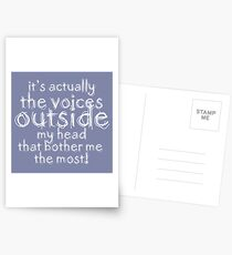 It's actually the voices OUTSIDE my head that bother me the most! #redbubble #typography Postcards