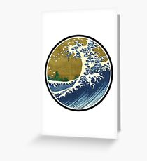 Japanese surf wave Greeting Card