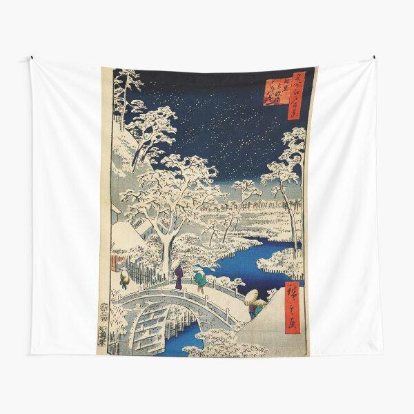 Ukiyo-e, Ando Hiroshige Yuhi Hill and the Drum Bridge at Meguro (1856- 1858) Tapestry