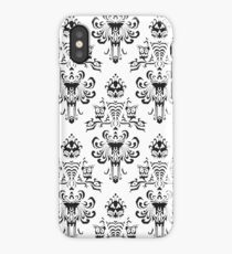 Haunted Mansion Wallpaper Black and White iPhone Case