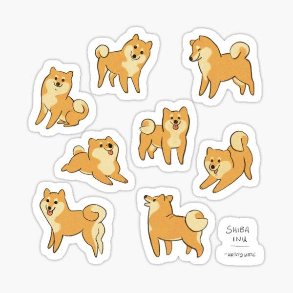 Playful Shiba Inu Sketches Sticker