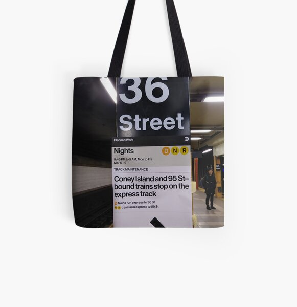 New York, Manhattan, Brooklyn, New York City, architecture, street, building, tree, car, pedestrians, day, night, nightlight, house, condominium,  All Over Print Tote Bag