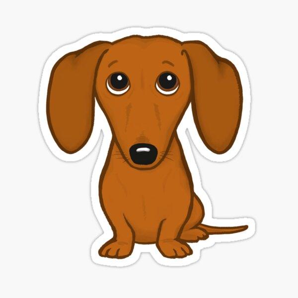 Cute Dachshund   Cartoon Wiener Dog Sticker