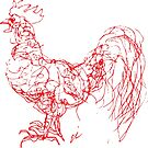 Scribbles the Rooster-Red Outline by GroglioArt