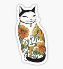 Katze in der Tiger-Blumen-Tätowierung Sticker