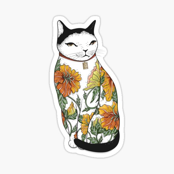 Cat in Tiger Flower Tattoo Sticker