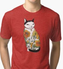 Cat in Tiger Flower Tattoo Tri-blend T-Shirt