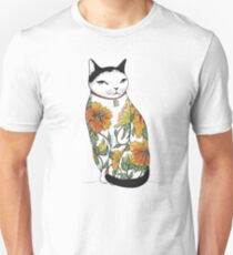 Camiseta unisex Gato en Tiger Flower Tattoo