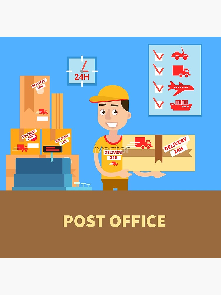 Post Office Postman With The Parcel Postal Service Delivery