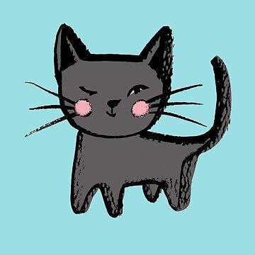 Lucky Black Winking Cat - a cute black kitten graphic illustration  by GabsBuckingham