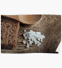 spoon rye bread with coarse salt Poster