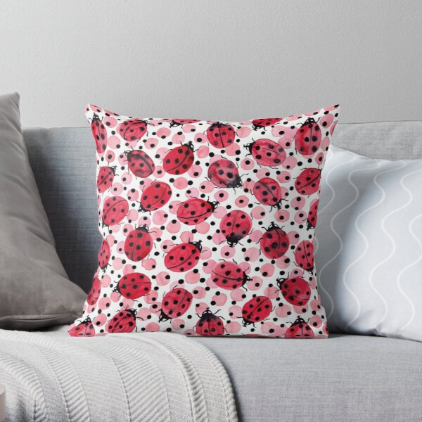 Watercolor Ladybugs on red and black dots Throw Pillow