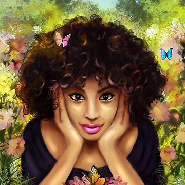 Curly Hair Pretty Girl Butterfly Floral Garden by EllenDaisyShop