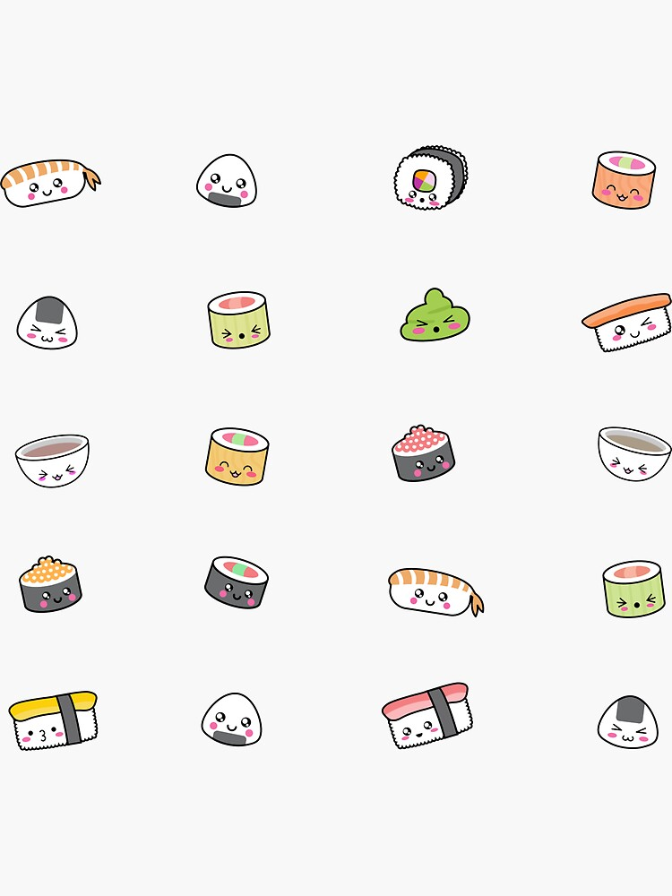Happy kawaii sushi pattern by EuGeniaArt