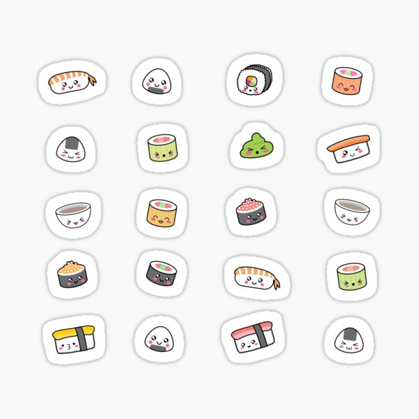 Happy kawaii sushi pattern Sticker