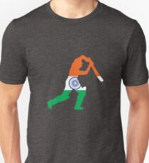 India Flag and Batsman for Cricket Team Fan Unisex T-Shirt