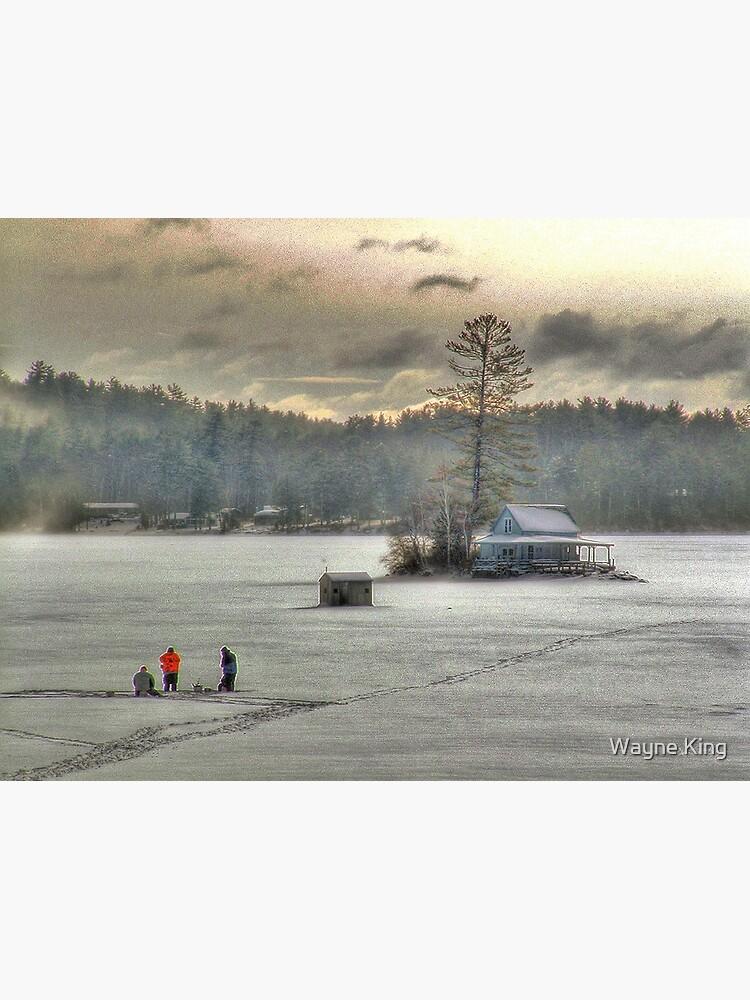 Warm Glow on a Cool Scene - Ice Fishing on Newfound Lake by waynedking