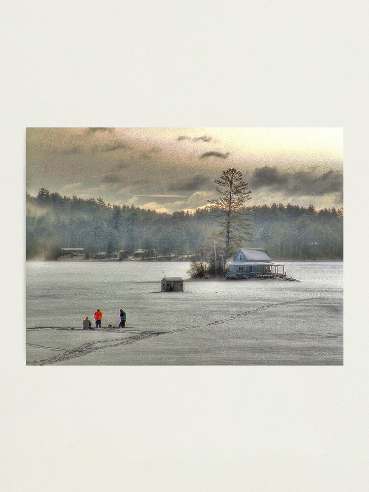 Alternate view of Warm Glow on a Cool Scene - Ice Fishing on Newfound Lake Photographic Print