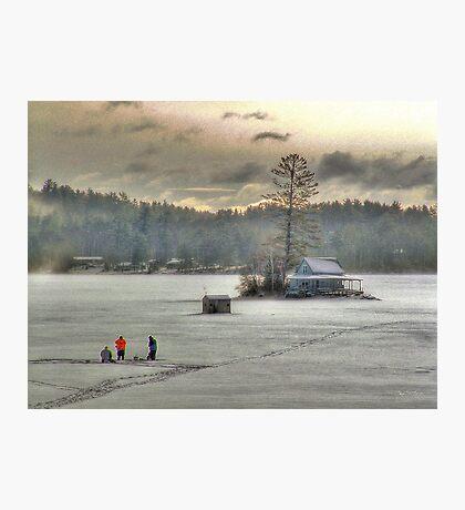 Warm Glow on a Cool Scene - Ice Fishing on Newfound Lake Photographic Print
