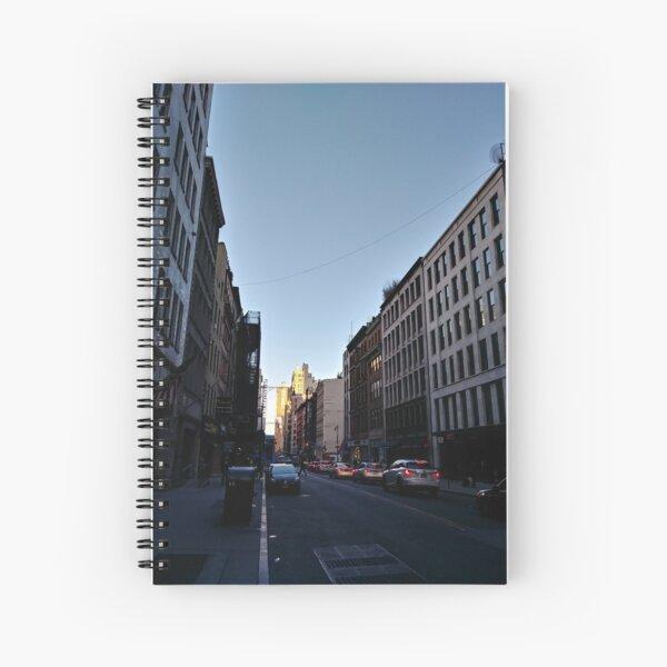 Metropolitan area, New York, Manhattan, Brooklyn, New York City, architecture, street, building, tree, car, pedestrians, day, night, nightlight, house, condominium,  Spiral Notebook