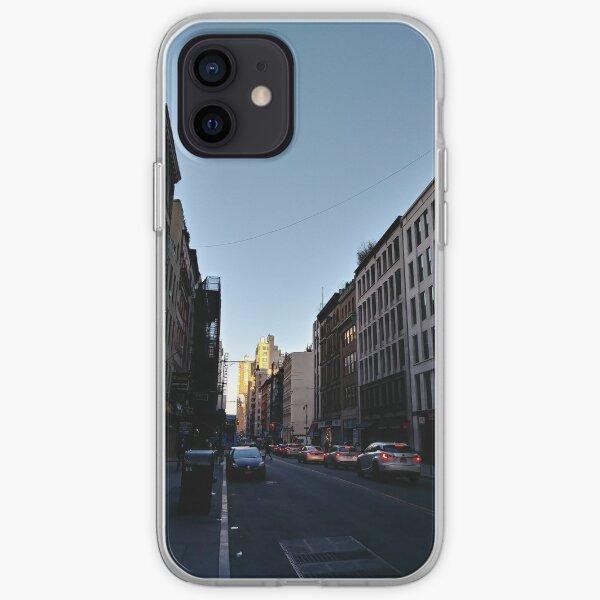 Metropolitan area, New York, Manhattan, Brooklyn, New York City, architecture, street, building, tree, car, pedestrians, day, night, nightlight, house, condominium,  iPhone Soft Case