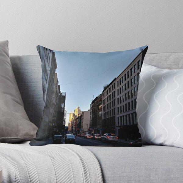 Metropolitan area, New York, Manhattan, Brooklyn, New York City, architecture, street, building, tree, car, pedestrians, day, night, nightlight, house, condominium,  Throw Pillow