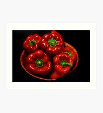 Bowl Of Red Capsicums  Art Print