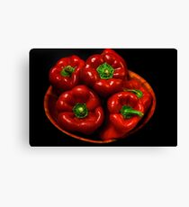 Bowl Of Red Capsicums  Canvas Print
