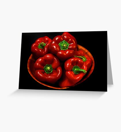 Bowl Of Red Capsicums  Greeting Card