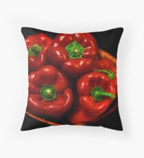 Bowl Of Red Capsicums  Throw Pillow