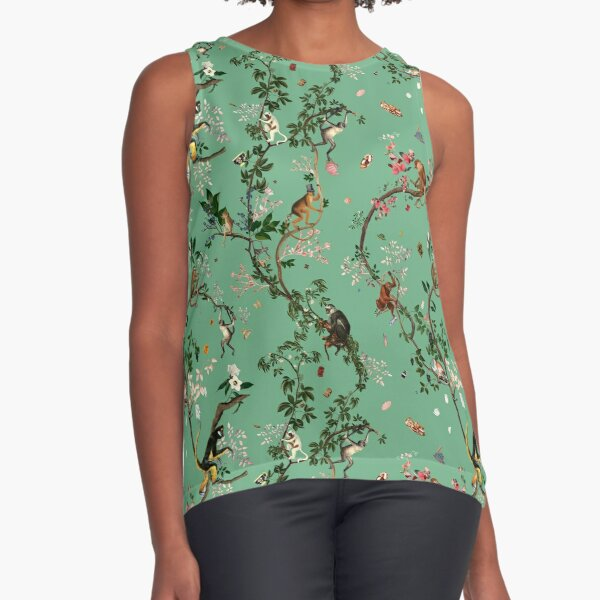 Monkey World Green Sleeveless Top