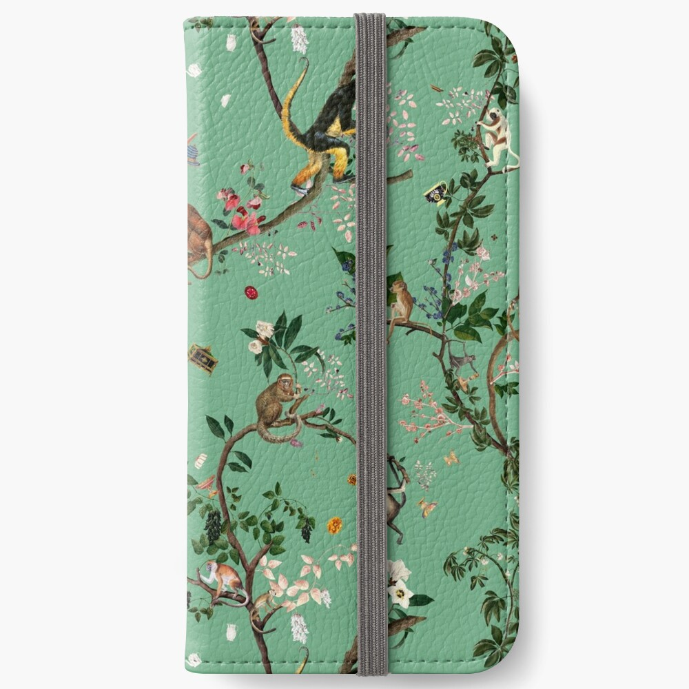 Monkey World Green iPhone Wallet