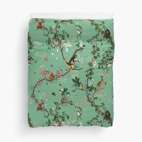 Monkey World Green Duvet Cover