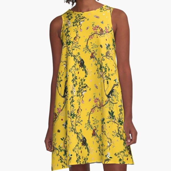 Monkey World Yellow A-Line Dress
