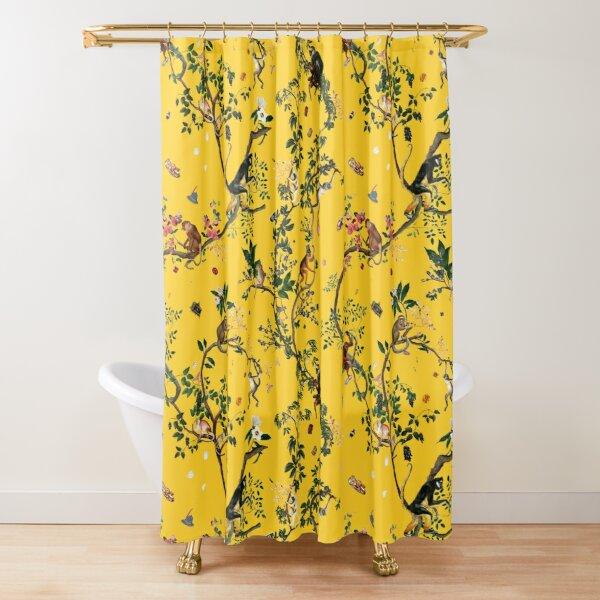 Monkey World Yellow Shower Curtain
