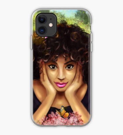 Curly Hair Pretty Girl Butterfly Floral Garden iPhone Case