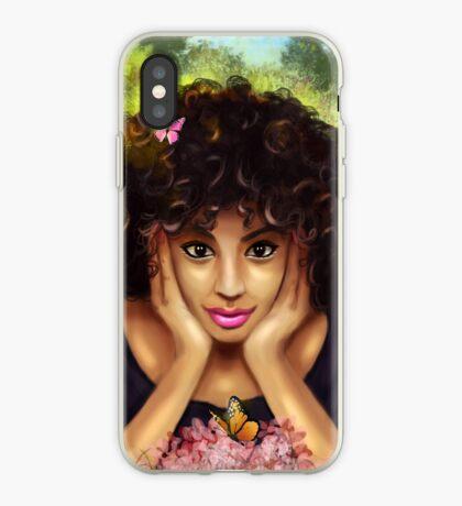 Lockiges Haar Hübscher Mädchen-Schmetterlings-Blumengarten iPhone-Hülle & Cover