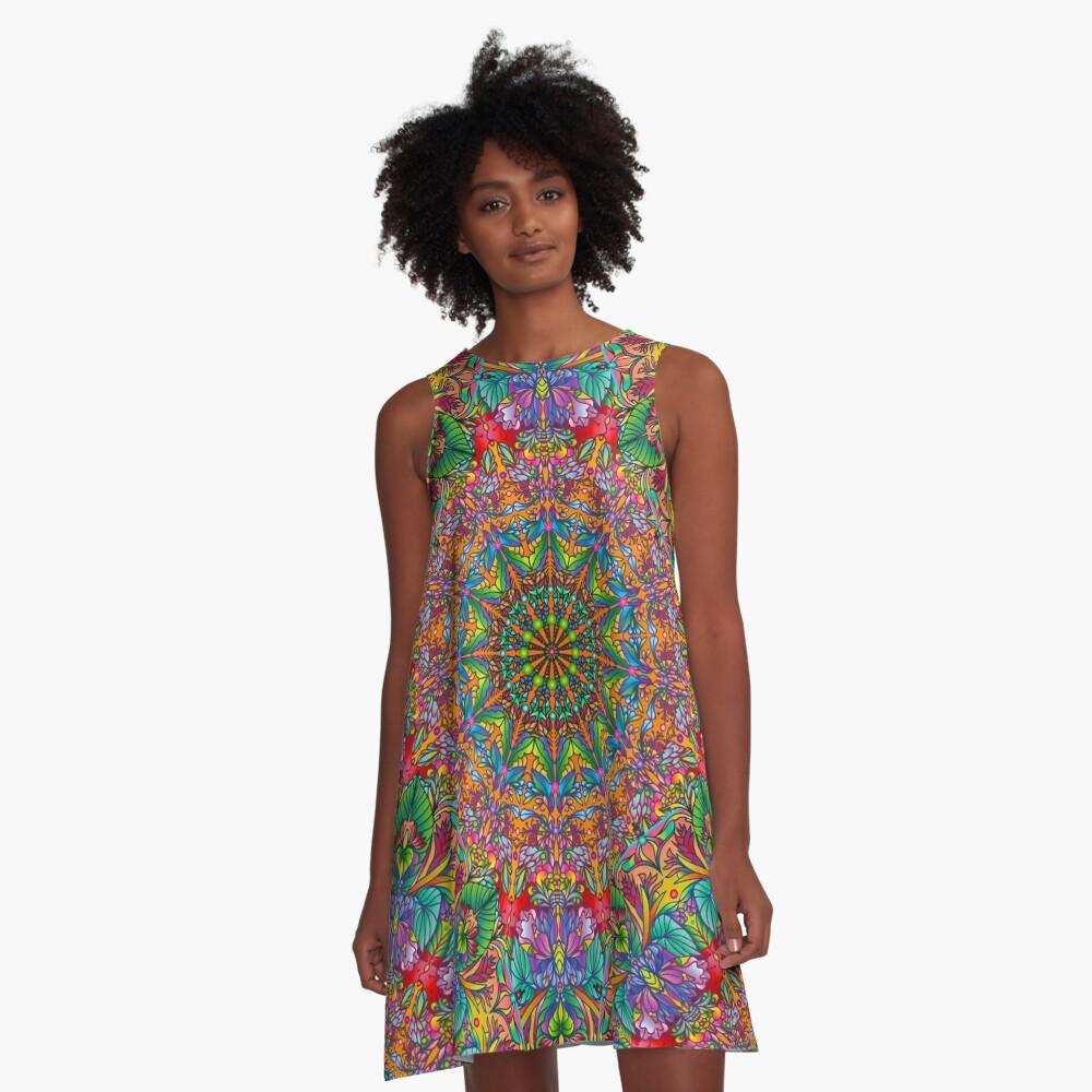 Tropical Mandala A-Line Dress Front