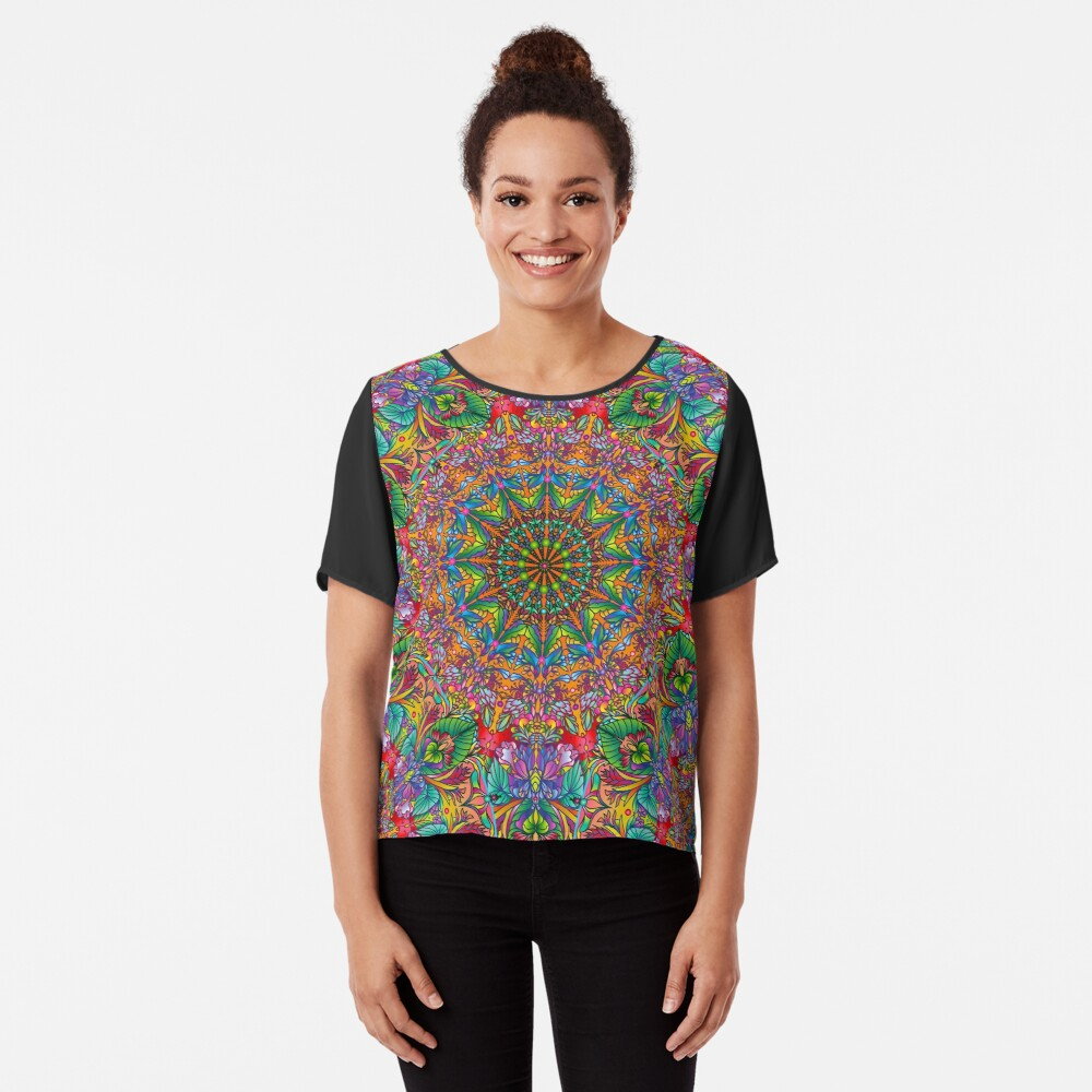 Tropical Mandala Chiffon Top
