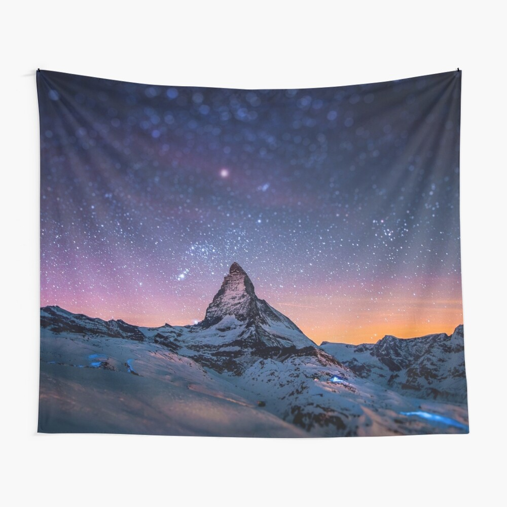 Mountain Reach the Galaxy Wall Tapestry